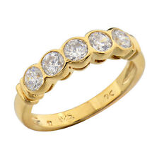 Gold Plated Sterling Silver Cluster CZ Jewelry Women's Wedding Engagement Ring