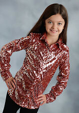 Roper Girls Red Polyester Leopard Rodeo L/S Western Shirt