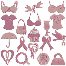 PINK RIBBON BREAST CANCER * Machine Embroidery Patterns * 18 designs, 2 sizes