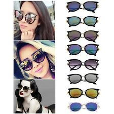 Retro Womens Mens Sunglasses Metal Frame Golden Leg Cat Eye Shades Eyeglasses KG
