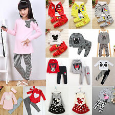 KIDS BABY GIRLS OUTFITS CLOTHES T-SHIRT TOPS + PANTS SET WINTER SPRING TRACKSUIT