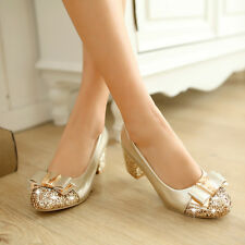 Womens Retro Sweet Shiny Round Toe Bling Bowknot Mid Block Heel Date Party Shoes