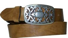 FRONHOFER women´s belt floral buckle, flower buckle matt silver, genuine leather