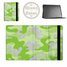 Camouflage Bright Green Flip Folio Case - fits iPad Air Mini Samsung Galaxy