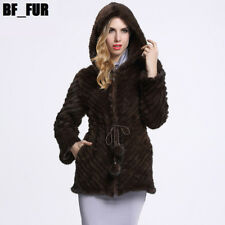 Luxury Women 100% Real Genuine Knitted Mink Fur With Hat Outwear Coat C0008