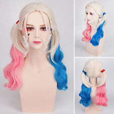 Batman Suicide Squad Harley Quinn Wig Ombre Wavy Hair Cosplay Costume Accessorie