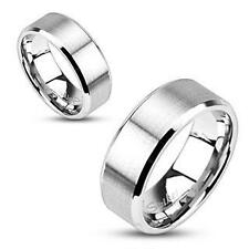 NEW Stainless Steel Brushed Flat Band 8MM All Sizes Available Size 10 Ring