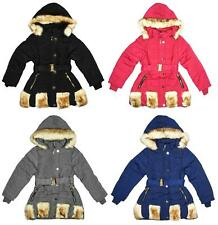 Girls Coat Anorak Faux Fur Patch Fashion Hooded Padded Belt Winter 3 to 12 Years