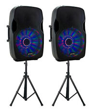 "2 x Gemini AS-15BLU-LT Active Speaker with 15"" Woofer  Bluetooth & Stands"
