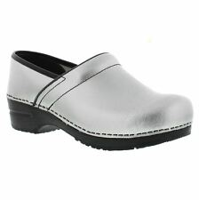 SANITA Women's Shoes PROFESSIONAL Closed Back Work clogs IN SILVER LEATHER