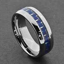 8mm Tungsten Men's Blue Carbon Fiber Dome High Polish Men's Wedding Band