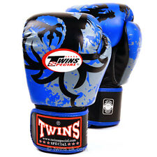 Twins Muay thai Blue Tribal Dragon Boxing Gloves Sparring Training