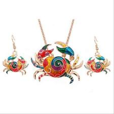 Earring Crab Colorful Necklace 1 sets Jewelry Sets Gift Silver Plated