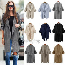 NEW Womens Open Front Duster Coat Trench Duster Cardigan Jacket Long Top Outwear