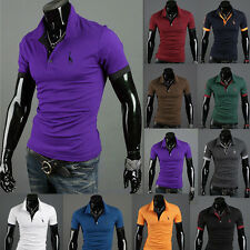 New Men Stylish Casual Slim Fit Short Sleeve Polo Shirt T-shirts Tee Shirt Top H