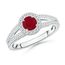 Solitaire Round Ruby Engagement Ring with Diamond in 14k White Gold US Size 3-13