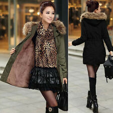 Women Lady Warm Winter LONG Coat Fur Hooded Parka Thick Overcoat Jacket Outwear