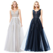 Women Long Tulle Bridesmaid Formal Gown Ball Party Evening Maxi Prom Dress NEW