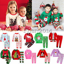 1-7Y Kids Christmas Clothes Baby Girls Boys Nightwear Pyjamas Casual Outfits Set