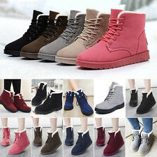 Womens Faux Suede Snow Boots Fur Lined Lace Up Thick Warmer Ankle Booies Shoes