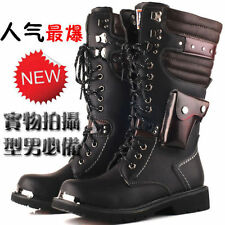 Christmas BAND COOL PUNK Rock- MEN'S Motorcycle Equestrian Army long Boot US 12