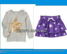 Nwt Crazy 8 girls size 4 4T purple gold star top skirt outfit 2pc set new