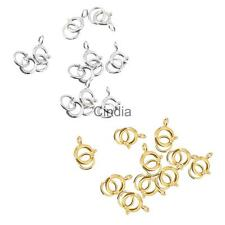 10pcs 925 Sterling Silver Spring Ring Clasp Jewelry Findings 6 mm Gold/Silver
