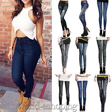 Womens Jeans Denim Look Pants Jeggings Stretchy Leggings Casual Skinny Trousers