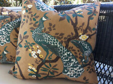 Dwell Studios Vintage Plume Fabric Pillow Cover in Turquoise and Brown