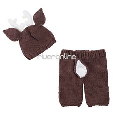 Newborn Baby Unisex Crochet Knit Outfit Costume Xmas Deer Photography Hat Pants