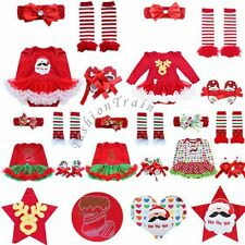 Baby Infant Girls Kid Christmas Santa Claus Romper Outfit Set Tutu Dress Costume