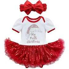My First Christmas Santa Infant Baby Girls Romper Sequined Tutu Dress Outfit Set