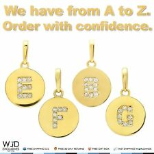 14k Yellow Gold 0.20Ct Simulated Diamond Alphabet Initial Letter Pendants A-Z