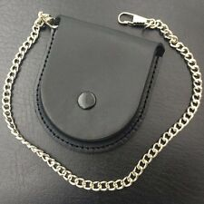 Back Brown Cover Pocket Watch Box Holder Storage Case Purse Pouch Bag W/ Chain