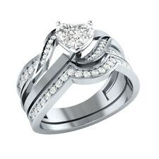 1.00 ct Round Cut D/VVS1 Solid Gold Wedding Bridal Ring Set Sizable
