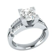 Princess 2.30 ct D/VVS1 Wedding Engagement Ring Sizable Solid White Gold Jewelry