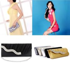 Lady Shoulder Satin Clutch Bag Alloy Rhinestone Handbag Wedding Evening Party