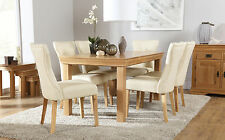 French Farmhouse & Bewley Oak Dining Table & 4 6 Chairs Set (Ivory)