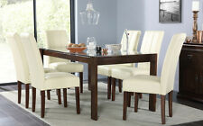 Tate 180cm Dark Wood & Glass Dining Table & 4 6 8 Carrick Chairs Set (Ivory)