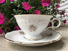 Footed Cup and Saucer Set Briar Rose (Gold Trim) by Schumann Bavaria Germany