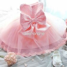Baby Girls Toddler Wedding Party Pageant Tutu Lace Dresses Bows Baptism Birthday