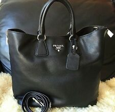 Authentic Prada Black Phenix Vitello Daino Leather Handbag Tote Borse BN2419 NWT