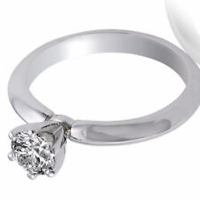 Real Engagement Ring Round Cut Diamond 14K White Gold 0.58 Ct Certified Enhanced