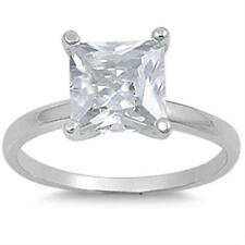 925 Sterling Silver Princess Clear CZ Engagement All sizes available Size 8 Ring
