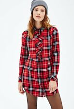 Forever 21 Red Black Ruffled Plaid Dress Small S