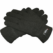 New Men's Thinsulate Extreme Winter Warm Wool Knitted Thermal Black Gloves
