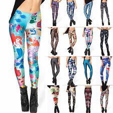 Women Graphic Print Punk Stretch Leggings Sport Tight Pants Slim Pencil Trousers