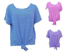 New Fashion Ladies Knot Tie Tee Stripe Blouse Women's Short Sleeves Top Summer