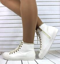 White Patent Hi Top Trainers Sneakers Gold Chain Ankle Boots Shoes Size 3-8