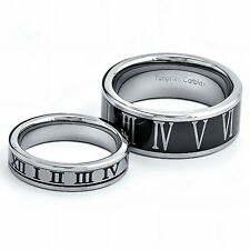 Tungsten His & Hers Engagement & Wedding Ring Sets Two Tone Roman Number Etch